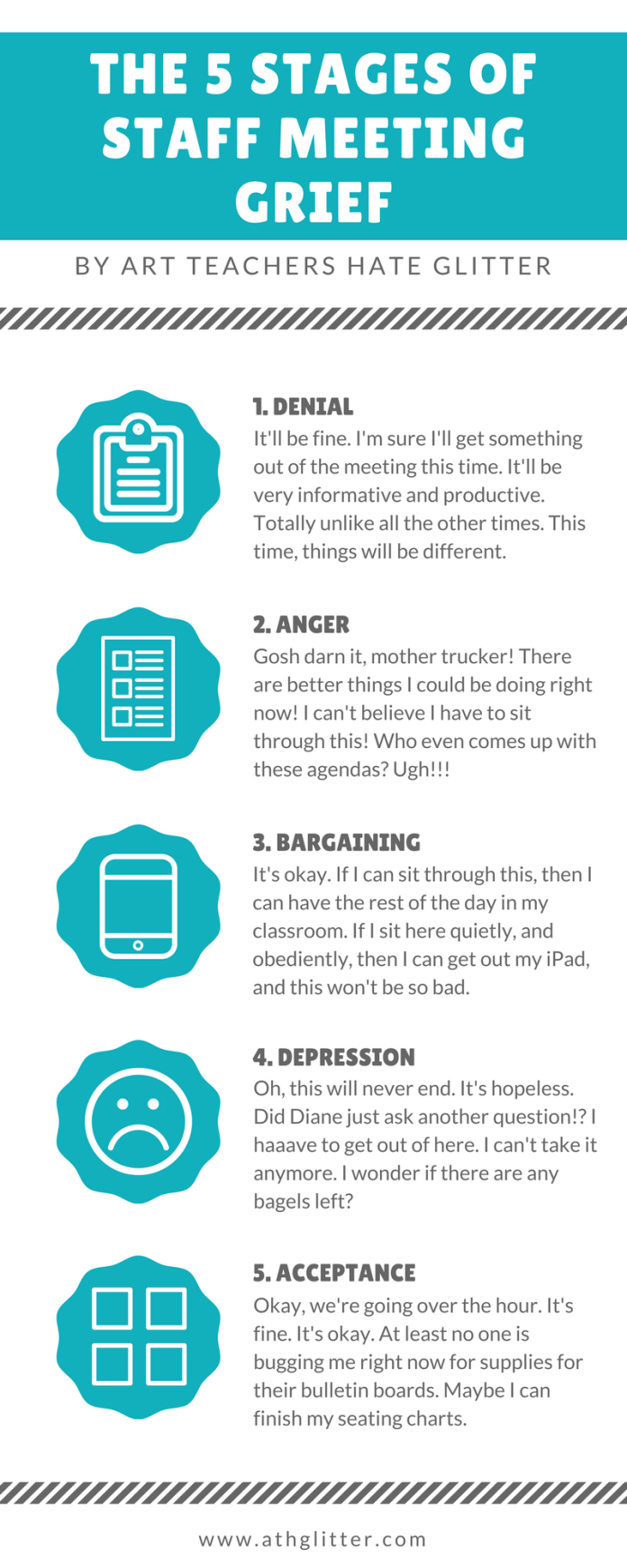 The 5 Stages of Staff Meeting Grief www.athglitter.com